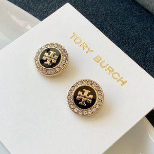 Tory Burch Black Crystal Earrings